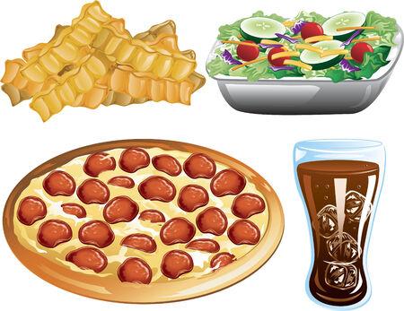 フライド ポテト、ピーマンのピザ、コーラとサラダのイラスト。