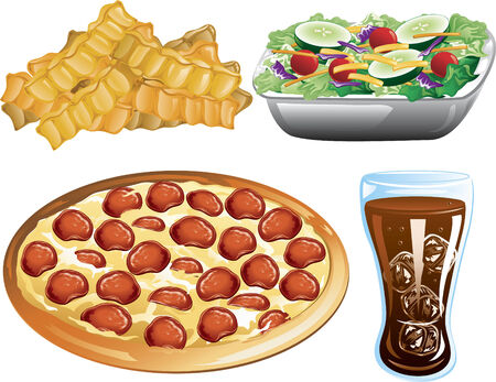 Illustration of french fries, pepperoni pizza, cola and a side salad.