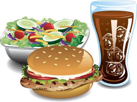 グリルしたチキン ・ サンドイッチ、サラダ、コーラのイラスト