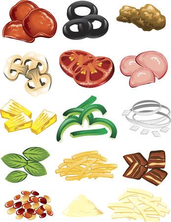 Illustrazione della pizza diversi ingredienti e formaggio.  Vettoriali