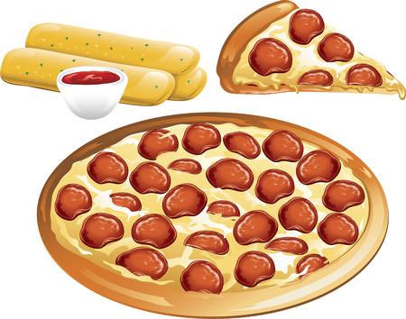 ペパロニのピザと添えブレッドスティックのイラスト。