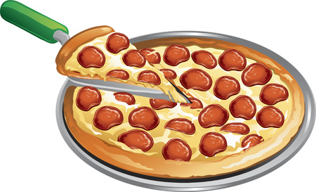 Illustration of a pepperoni pizza with a slice taken out. Ilustrace