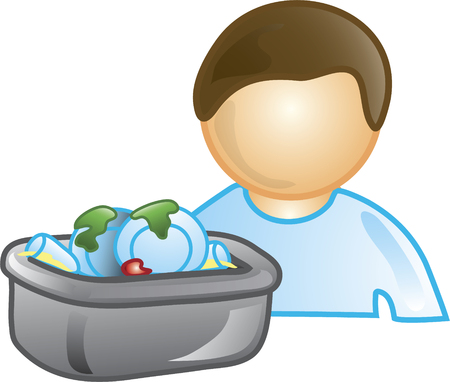 Illustration of a busboy icon with a bus tub of dirty dishes. This icon is part of the food industry icon collection.
