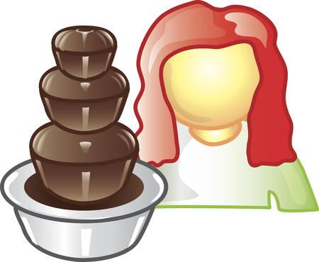 Illustratie van een cateraar pictogram met chocolade fontein. Dit pictogram is onderdeel van de voedings industrie icoon collectie.