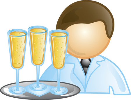 Illustration of a waiter icon holding a tray with champagne. This icon is part of the food industry icon collection.