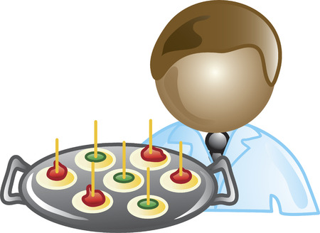 Illustration of a waiter icon holding a tray with appetizers. This icon is part of the food industry icon collection.