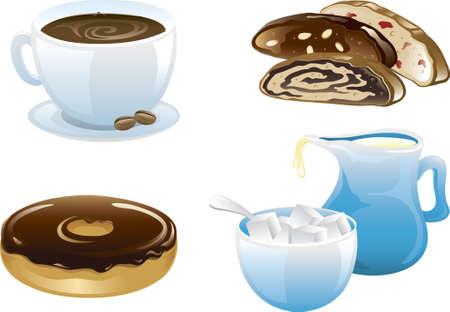 Illustraties van vier verschillende cafe voedsel pictogrammen, koffie, biscotti, ring en room met suiker.