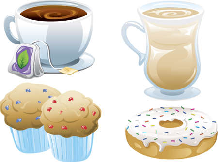 Illustrations of four different cafe food icons, iced coffee, tea, muffins and a doughnut.