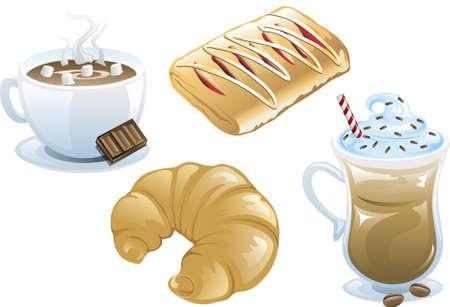 4 つの異なるカフェ食品アイコンのイラスト、アイス コーヒー、ホット チョコレート、デンマーク語とクロワッサン。