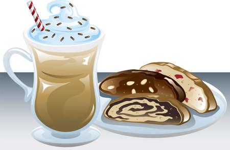 アイス コーヒーとビスコッティ異なるプレートのイラスト。  イラスト・ベクター素材