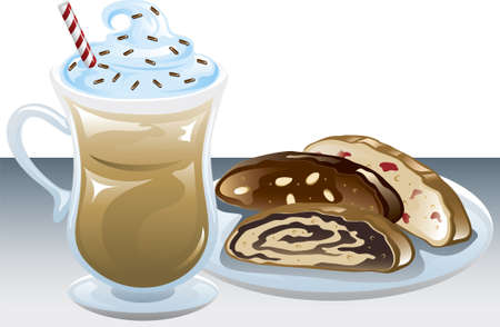 Illustration of an iced coffee and a plate of different biscotti. Illustration