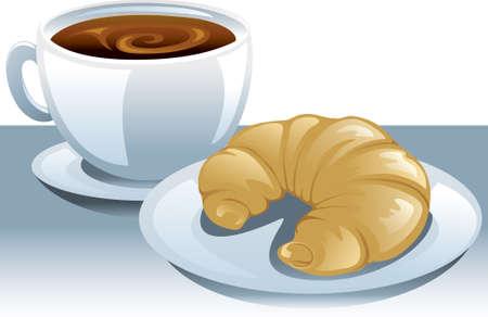 Illustratie van een kopje koffie en een plaat met een croissant.  Stock Illustratie
