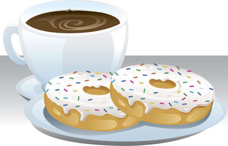 Illustration of a cup of coffee and a plate with donuts. Illustration
