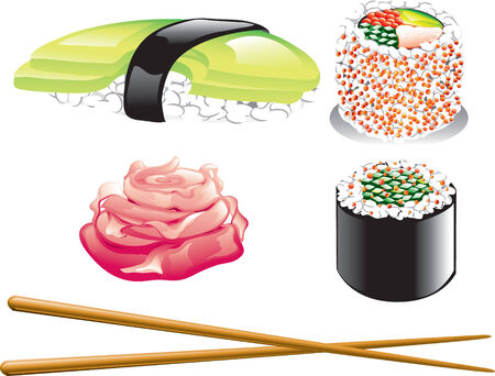 Illustration of different japanese food icons, including sushi, ginger and chopsticks