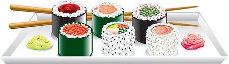 紅生姜、わさび、プレート上での日本食のイラスト。