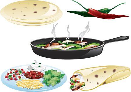 Different icons to make chicken fajitas Иллюстрация
