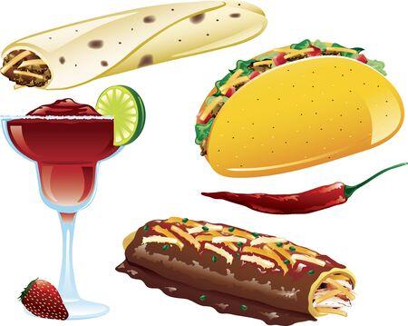 다른 멕시코 음식 아이콘의 삽화