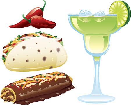 メキシコ料理の異なるアイコンのイラスト