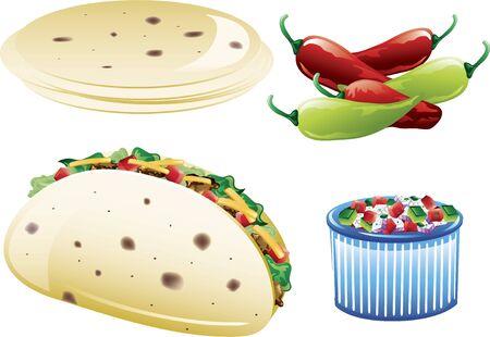 ピコ デ ガロと小麦粉トルティーヤを含むさまざまなメキシコ料理のアイコンのイラスト