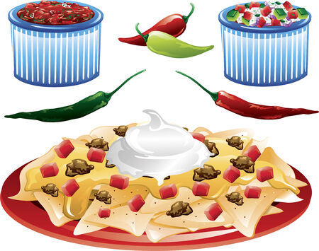 Illustrations of different mexican food icons,including pico de gallo and salsa