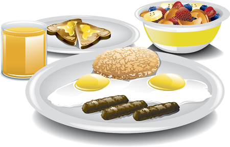 Illustration of a complete and healthy breakfast