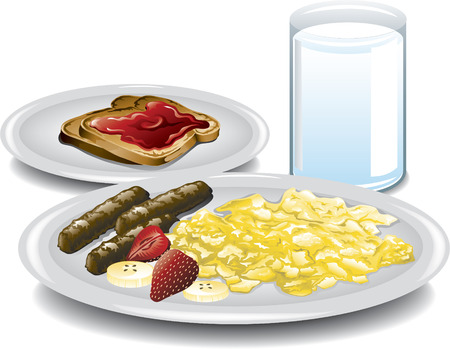 Illustration of a healthy complete breakfast  Çizim