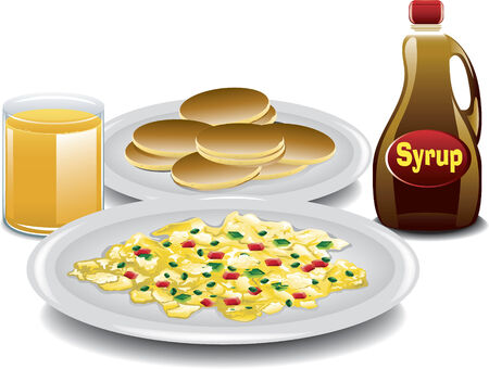 Illustration of a complete breakfast with mini pancakes, spanish style scrambled eggs, a bottle of syrup and a glass of orange juice