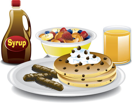 Illustration of a complete breakfast with chocolate chip pancakes, sausage, fruit bowl and orange juice