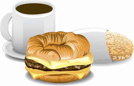 Illustration of a complete breakfast with cereal, orange juice and toast