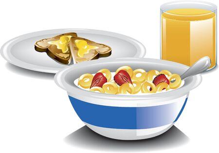 Illustration of a complete breakfast Banco de Imagens - 28400385