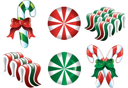Colorful Christmas Candy Icons in red green and white