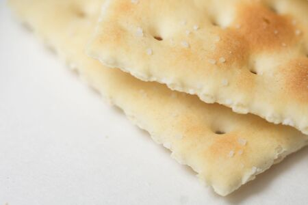 Close up of a saltine cracker