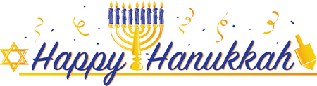 Colorful text with images that says Happy Hanukkah