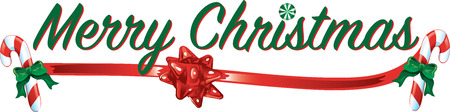 Colorful text with images that says Merry Christmas