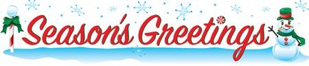 Colorful text with images that says Season's Greetings Illustration