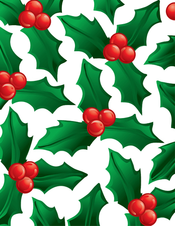 Illustration of green holly as a background Illustration