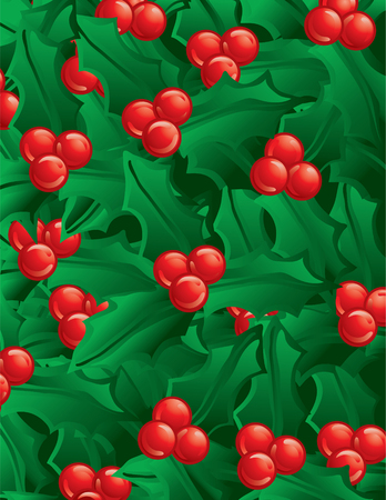 Illustration of green holly as a background 일러스트