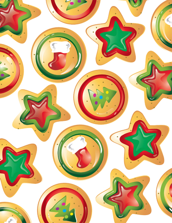 Illustration of different christmas cookies as a background