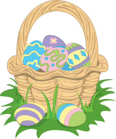 Illustration of an Easter basket filled with decorated eggs. Illustration
