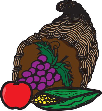 Vector illustration of a cornucopia icon or symbol Foto de archivo - 115066918