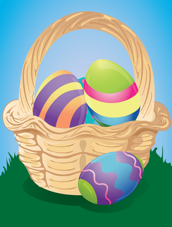 Illustration of a wicker easter basket with dyed eggs inside. Illustration
