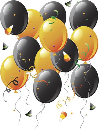 Illustration of balloons and halloweenc onfetti Çizim