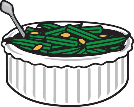 Illustration vectorielle d'un symbole de casserole de haricots verts
