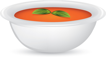 Illustration of a bowl of tomato and basil soup.