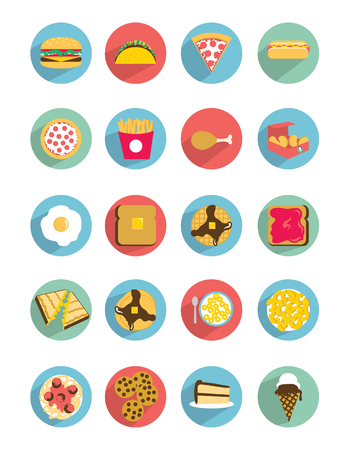 20 Different flat style food icons. Illustration