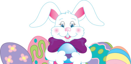 Illustration of an easter bunny with dyed eggs.