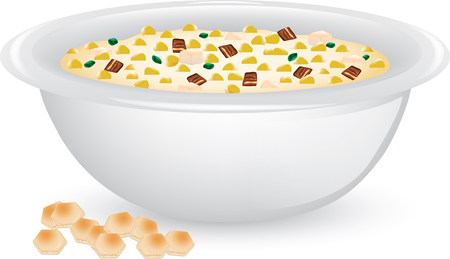 Illustration of a bowl of creamy corn chowder with soup crackers Çizim