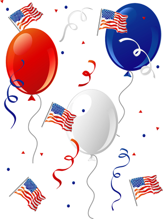 Illustration of a bunch of party balloons and confetti with Americain flags.