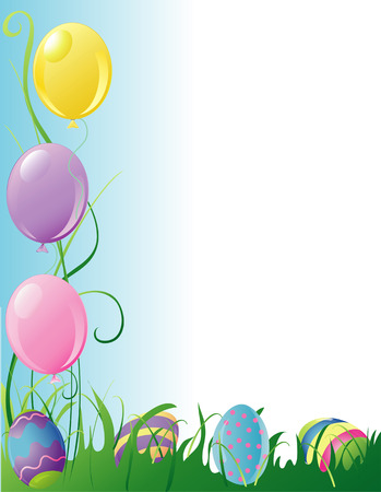 Illustration of easter party balloons and hidden eggs border