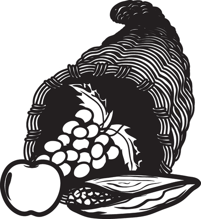 Vector illustration of a cornucopia icon or symbol Foto de archivo - 127491187